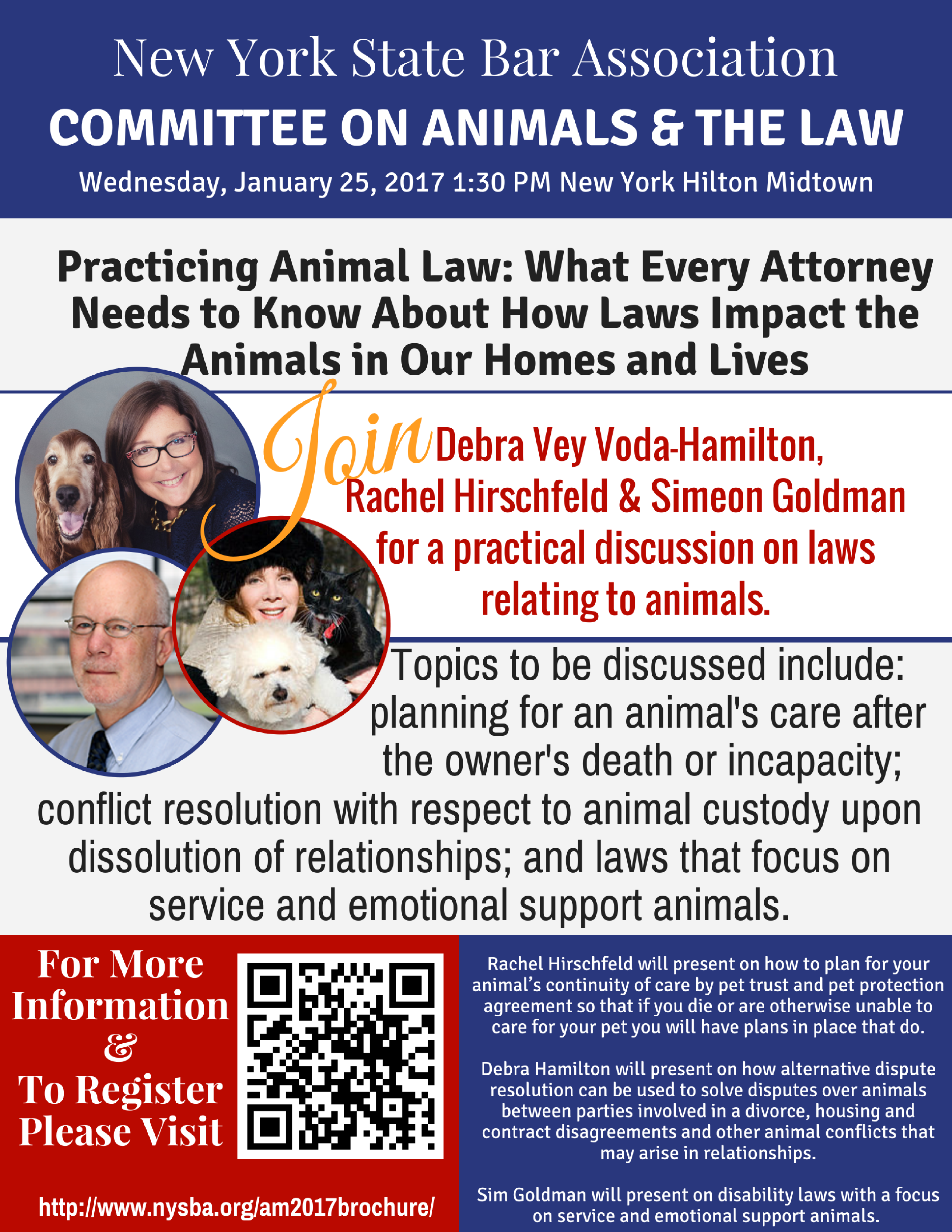 Practicing Animal Law: What Every Attorney Needs to Know About How Laws Impact the Animals in Our Homes and Lives, NYSBA, NYSBA 2017, Debra Vey Voda-Hamilton, Rachel Hirschfeld, Sim Goldman. Animal Law, Animal Custody, Animal Mediation,